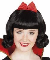 Zwarte pruik voor dames met rode strik 10049938