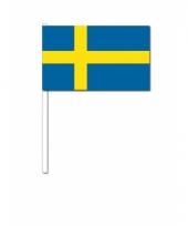 Zweden zwaai vlaggetjes 12 x 24 cm